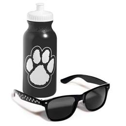 Paw Print Sunglasses & Water Bottle Set - Black and White