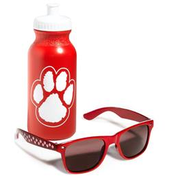 Paw Print Sunglasses & Water Bottle Set - Red and White