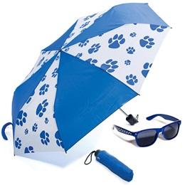 Paw Print Sunglasses and Umbrella Set - Blue and White