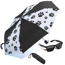 Paw Print Sunglasses and Umbrella Set - Black and White