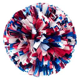 Metallic Cheerleader Pom-Poms - 4 in. Three Color Mix with Baton Handle