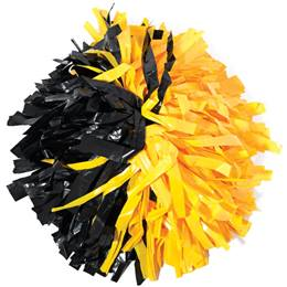 Plastic Cheerleader Pom-Poms - 4 in. Half-n-Half with Baton Handle