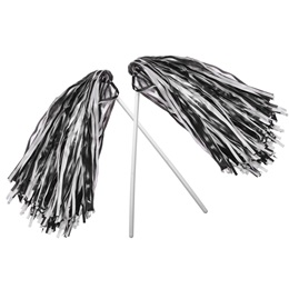 Black and White Economy Pom Poms, 2/pkg