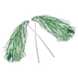 Kelly Green and White Economy Pom Poms, 2/pkg