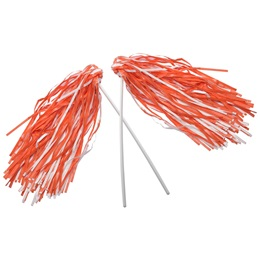 Orange and White Economy Pom Poms, 2/pkg