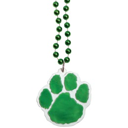 Green Paw Medallion with Green Beads