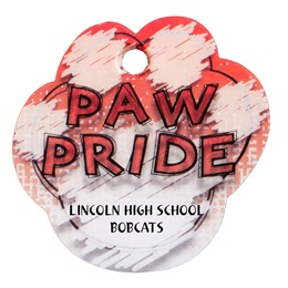 Custom Paw-shaped Dog Tag - Red Paw Pride