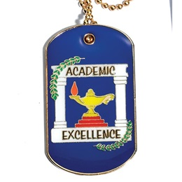 Enamel Dog Tag - Blue Academic Excellence