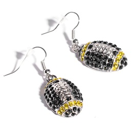 Football Earrings - Black and Gold