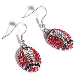 Football Earrings - Red and Black