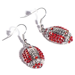 Football Earrings - Red and White