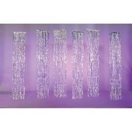Short Silver Shimmer Rain Curtains Kit (set of 4)