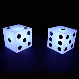 Pair o' Lighted White Dice Kit (set of 2)