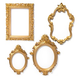 Plastic Frame Photo Prop Set - Gold