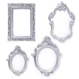 Plastic Frame Photo Prop Set - Silver