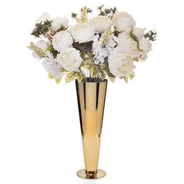 Floral Centerpiece Kit - Peony/Hydrangea/Wheat With Gold Vase
