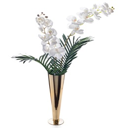 Floral Centerpiece Kit - White Orchid and Fern Leaves With Gold Vase