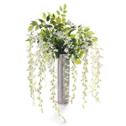 Floral Centerpiece Kit - White Wisteria Branches With Silver Vase
