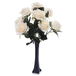 Floral Centerpiece Kit - Peach and White Roses With Black Vase
