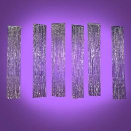 Long Silver Shimmer Rain Curtains Kit (set of 4)