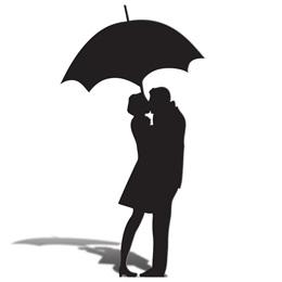 Umbrella Couple Silhouette