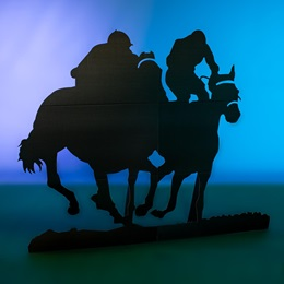 Double Jockey and Horses Silhouette Kit