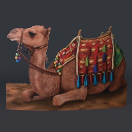 Sitting Decorated Camel Full-color Life Size Cut Out