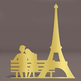 Gold Eiffel Tower and Bench Silhouette Kit