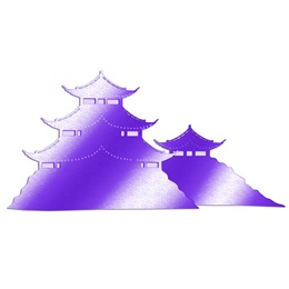 Purple Asian Pagodas Silhouette Kit