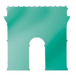 Teal Arc De Triomphe Silhouette