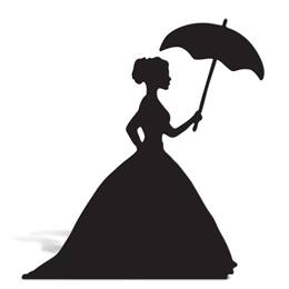 Lady With Umbrella Cut Out Silhouette