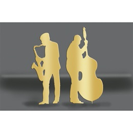 Gold Sax and Bass Players Silhouettes Kit
