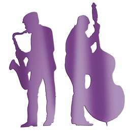 Purple Sax and Bass Players Silhouettes Kit