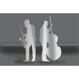 Silver Sax and Bass Players Silhouettes Kit
