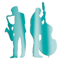 Teal Sax and Bass Players Silhouettes Kit