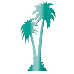 Teal Palm Tree Silhouette