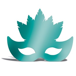 Teal Feather Mask Silhouette