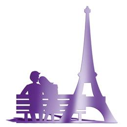 Purple Eiffel Tower and Bench Silhouette