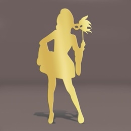 Gold Mardi Gras Masked Girl Silhouette Kit