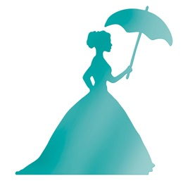 Teal Lady with Umbrella Die-cut Silhouette Kit