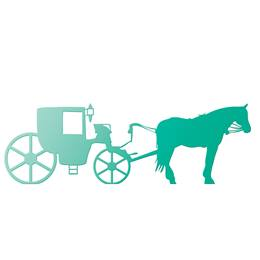 Teal Horse and Carriage Silhouette Kit