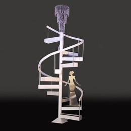 Ebony and Ivory Staircase With Elegant Lady Kit