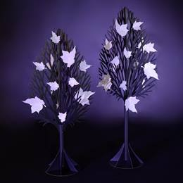 Iridescent Obsidian Trees With White Leaves Kit (set of 2)