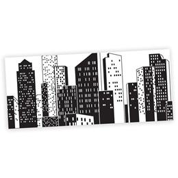 Cityscape Black and White Mural