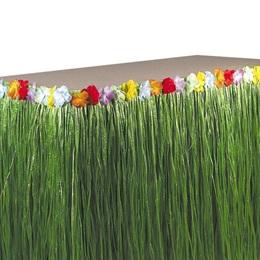 Flowered Raffia Green Table Skirt