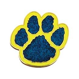 Glitter Paw Award Pin – Blue/Yellow